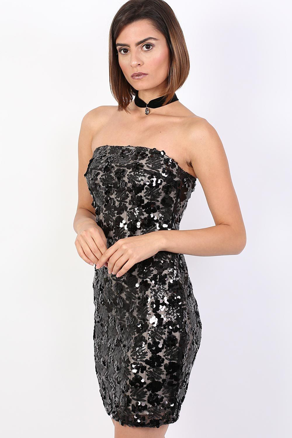 Sequin Bandeau Mini Dress in Black 0