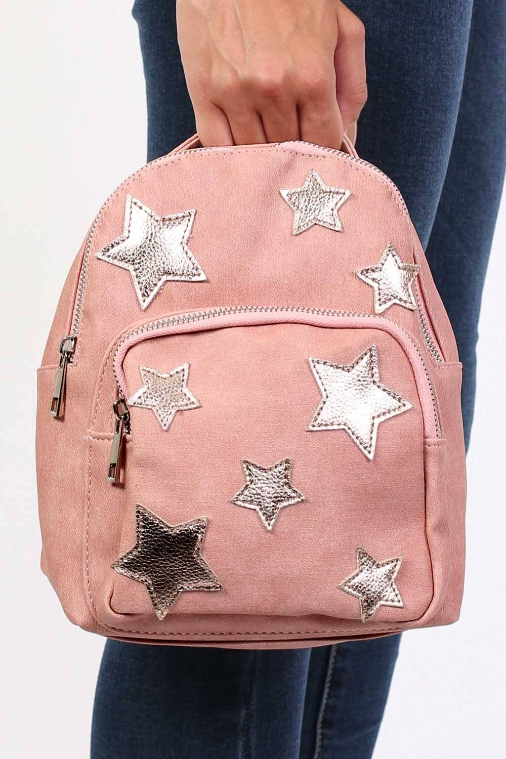Faux Leather Star Detail Backpack in Dusty Pink 0