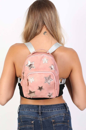 Faux Leather Star Detail Backpack in Dusty Pink 1