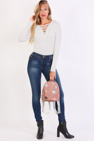 Faux Leather Star Detail Backpack in Dusty Pink 2