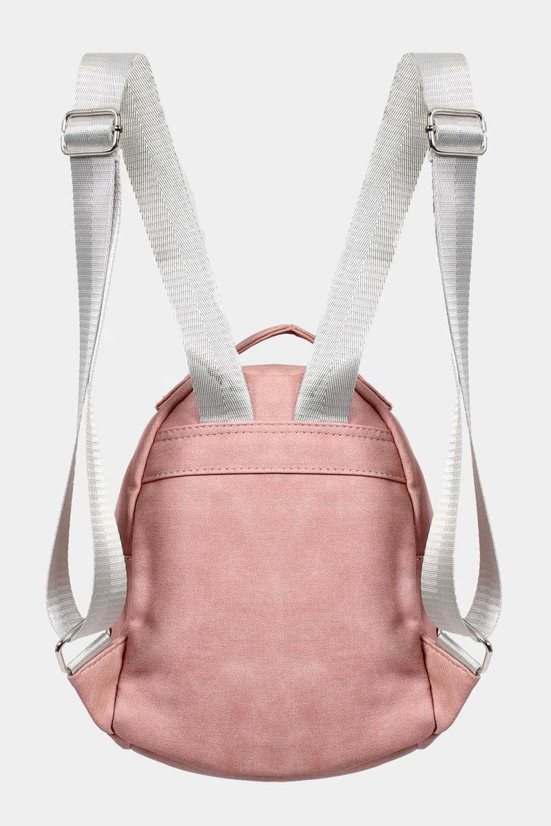 Faux Leather Star Detail Backpack in Dusty Pink 4