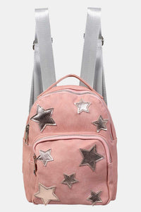 Faux Leather Star Detail Backpack in Dusty Pink 3