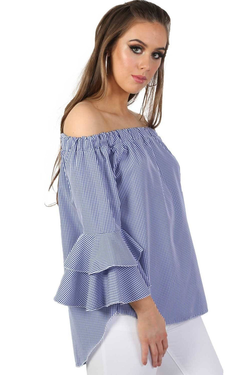 Bardot Frill Detail Long Sleeve High Low Hem Gingham Check Top in Blue 1
