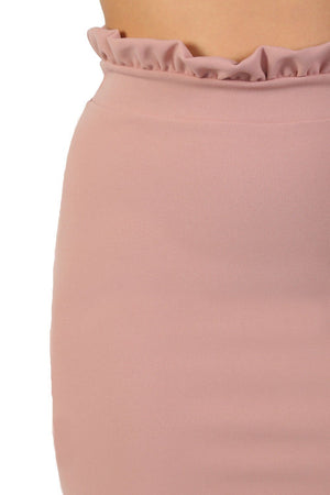 Plain Frill Detail Waist Mini Skirt in Rose Pink 2