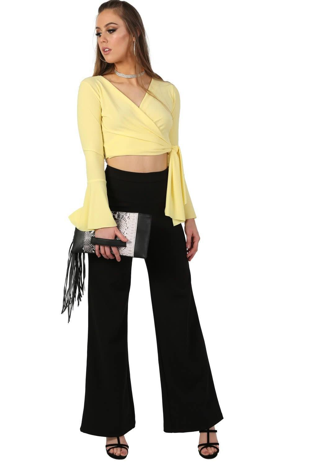 Plain High Waisted Wide Leg Trousers in Black 0