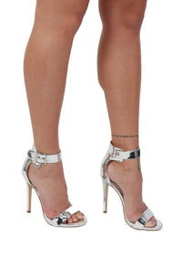 Metallic High Heel Ankle Strap Sandals in Silver 0