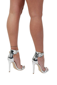 Metallic High Heel Ankle Strap Sandals in Silver 1