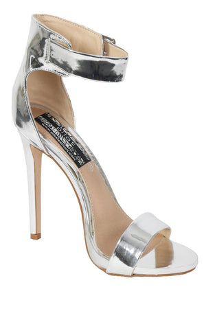 Metallic High Heel Ankle Strap Sandals in Silver 2