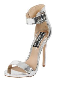Metallic High Heel Ankle Strap Sandals in Silver 3