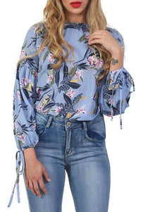 Floral Print Balloon Sleeve Top in Blue 3