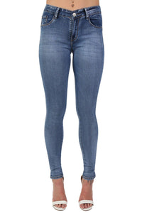 Denim Plain Stretch Skinny Jeans in Denim 0