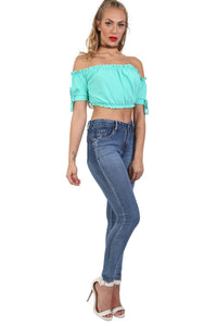 Denim Plain Stretch Skinny Jeans in Denim 3