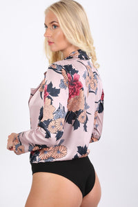 Collared Satin Floral Wrap Front Bodysuit in Dusty Pink 1
