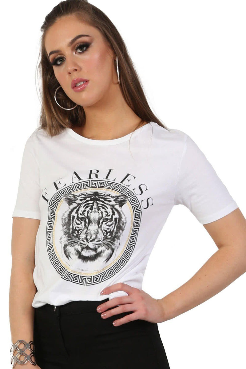 Fearless Slogan Print Tiger Motif Short Sleeve T-Shirt in White 0