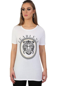 Fearless Slogan Print Tiger Motif Short Sleeve T-Shirt in White 1