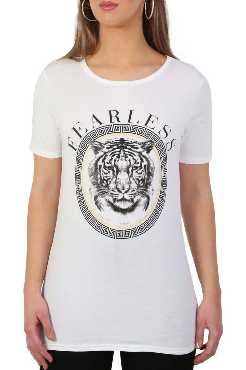 Fearless Slogan Print Tiger Motif Short Sleeve T-Shirt in White 4