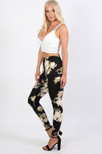 Floral Print Design Leggings in Black 2