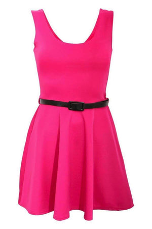 Sleeveless Belted Skater Dress in Pink Cerise 2