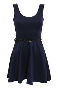 Sleeveless Belted Skater Dress in Navy Blue 2