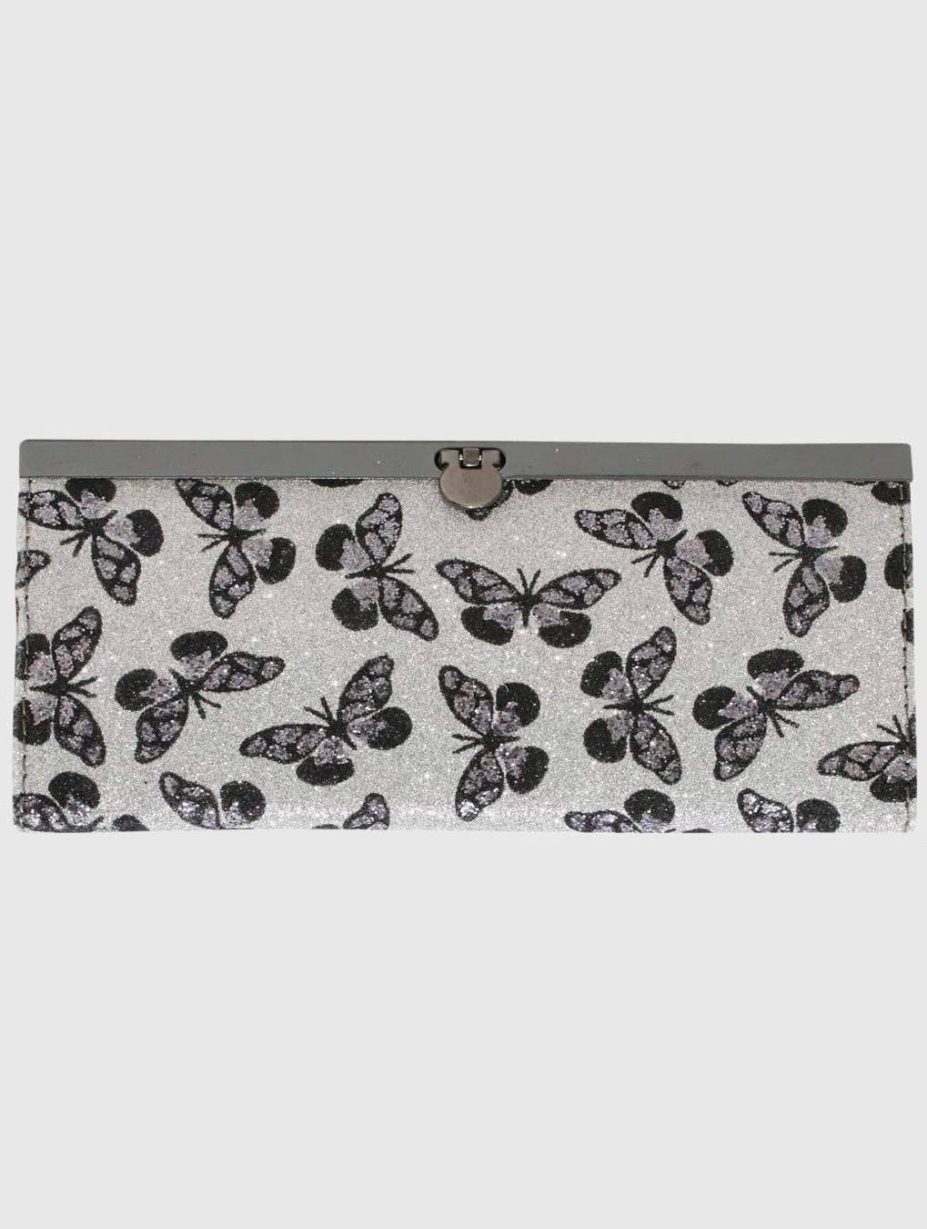 Glitter Butterfly Print Purse in Silver FRONT