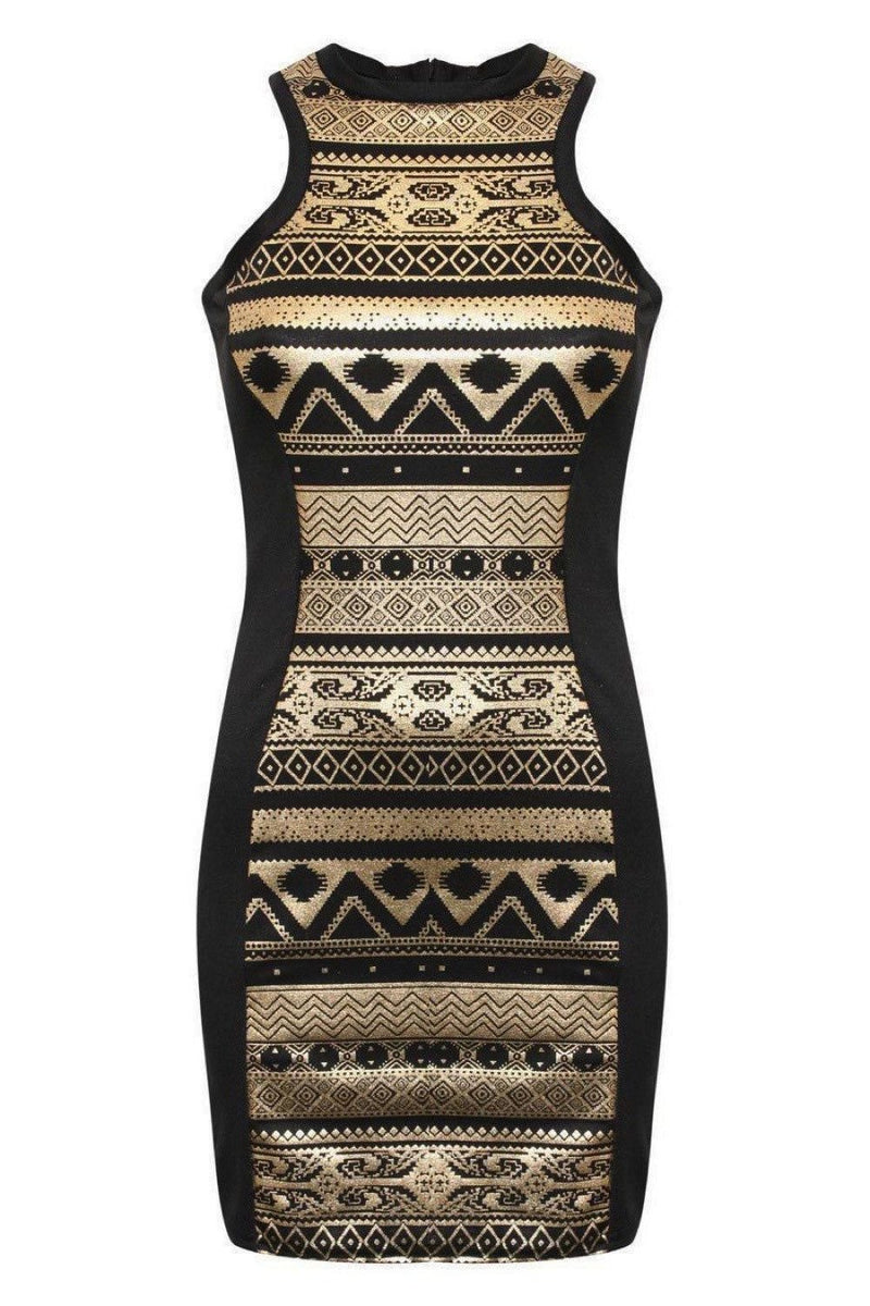 Gold Aztec Print Bodycon Party Dress in Black 2