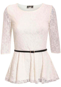 3/4 Sleeve Lace Peplum Top with Belt in Cream 2