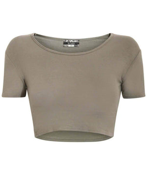 Plain Cap Sleeve Crop Top in Khaki Green 2