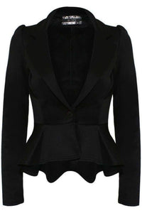 Peplum Blazer Jacket in Black 2