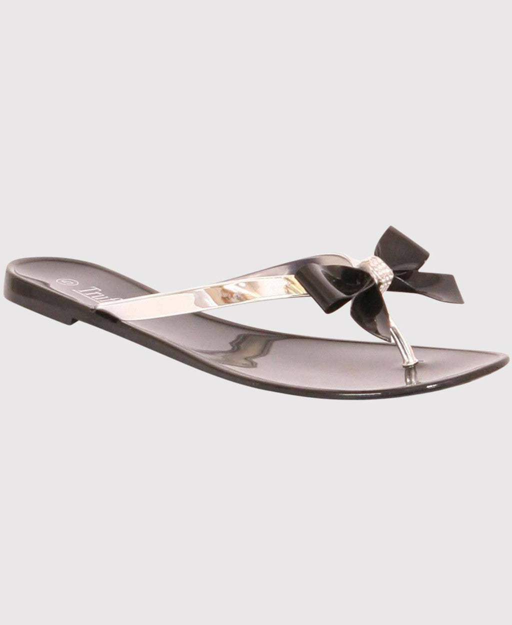 Bow Detail Flat Sandal in Black 0