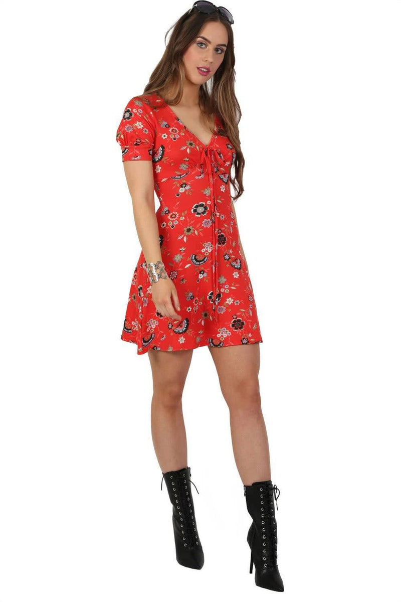 Cap Sleeve Floral Print V Neck Mini Tea Dress in Red 0