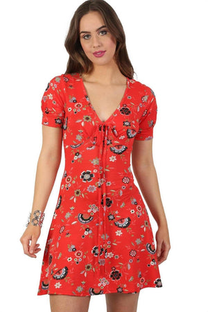 Cap Sleeve Floral Print V Neck Mini Tea Dress in Red 1