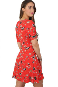 Cap Sleeve Floral Print V Neck Mini Tea Dress in Red 2