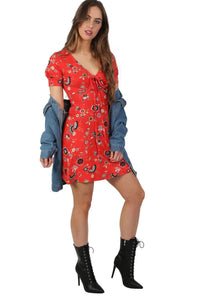 Cap Sleeve Floral Print V Neck Mini Tea Dress in Red 3