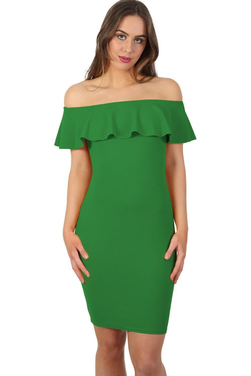 Deep Frill Bardot Bodycon Mini Dress in Emerald Green 1