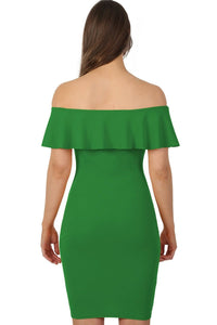 Deep Frill Bardot Bodycon Mini Dress in Emerald Green 2