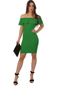 Deep Frill Bardot Bodycon Mini Dress in Emerald Green 3