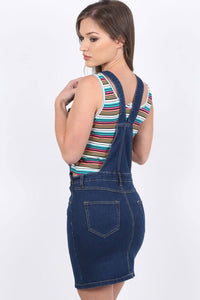 Denim Dungaree Pinafore Mini Dress in Dark Denim 1