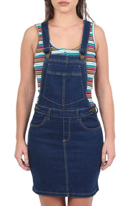 Denim Dungaree Pinafore Mini Dress in Dark Denim 3