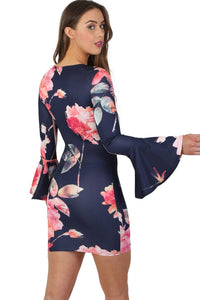 Floral Bell Sleeved Bodycon Mini Dress in Navy Blue 2