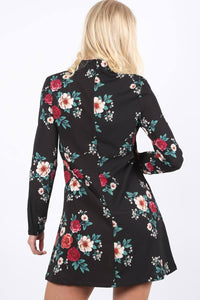 Floral Print Long Sleeve Choker Neck Shift Mini Dress in Black 1