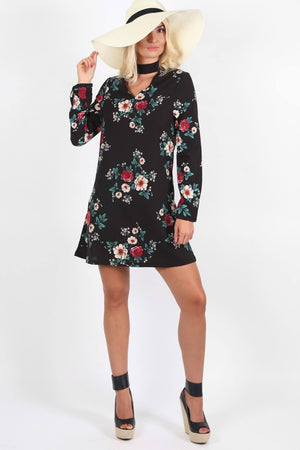 Floral Print Long Sleeve Choker Neck Shift Mini Dress in Black 2