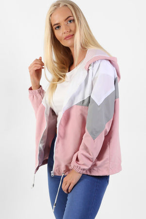 Hooded Lightweight Windbreaker Festival Jacket in Dusty Pink 1