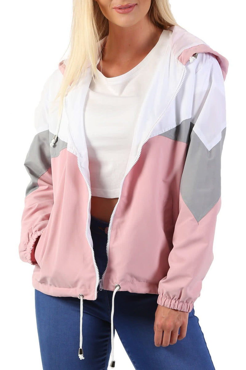 Hooded Lightweight Windbreaker Festival Jacket in Dusty Pink 4