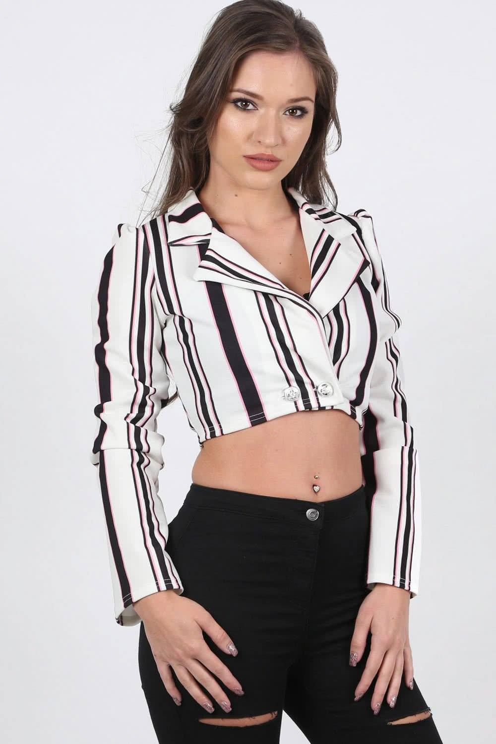 Multi Stripe Cropped Long Sleeve Jacket in White 0