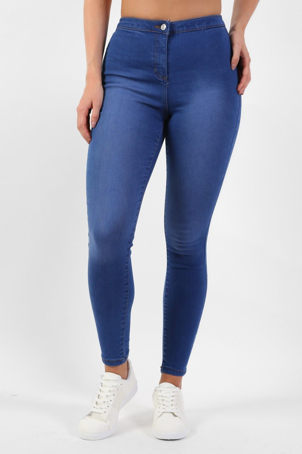High Waisted Stretch Denim Skinny Jeans in Denim 0