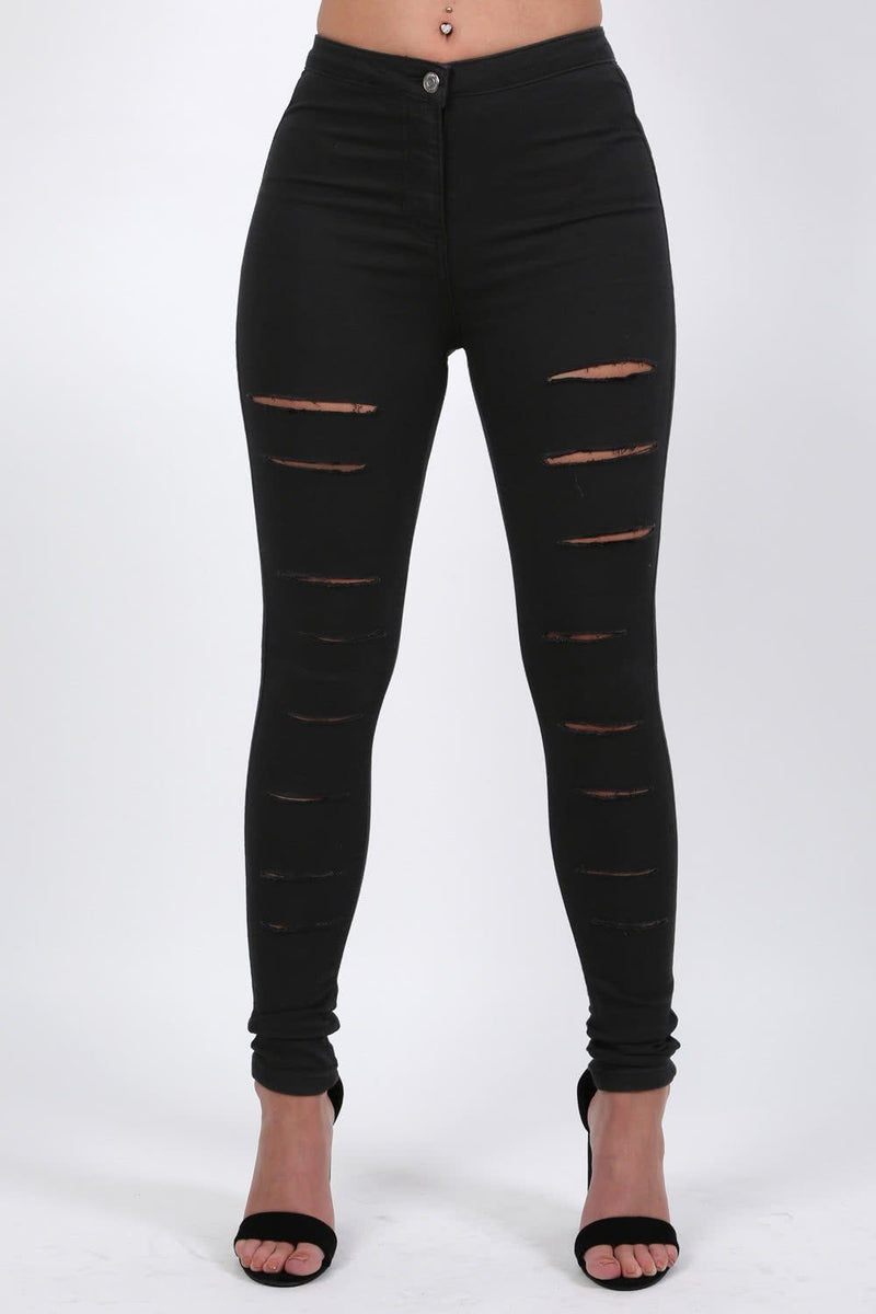 Plain Multi Rip Front High Waist Skinny Jeans in Black 0