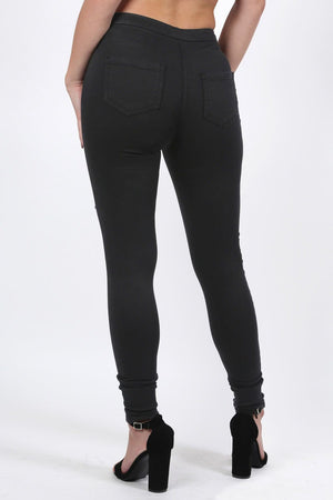 Plain Multi Rip Front High Waist Skinny Jeans in Black 1