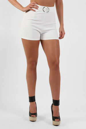 Double Circle Buckle Detail High Waisted Fitted Shorts in Cream 1