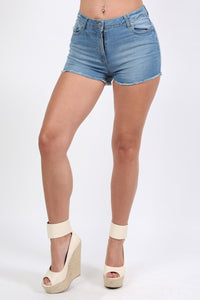 Frayed Hem Denim Hotpant Shorts in Denim 1