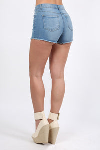 Frayed Hem Denim Hotpant Shorts in Denim 2